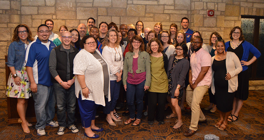 The inaugural class of Social Justice Fellows and their instructors celebrate the program's conclusion